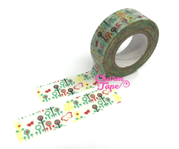 Flower Washi Tape 15mm x 10 meters WT1022 - CharmTape - 8