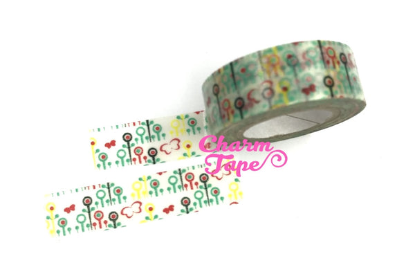 Flower Washi Tape 15mm x 10 meters WT1022 - CharmTape - 9