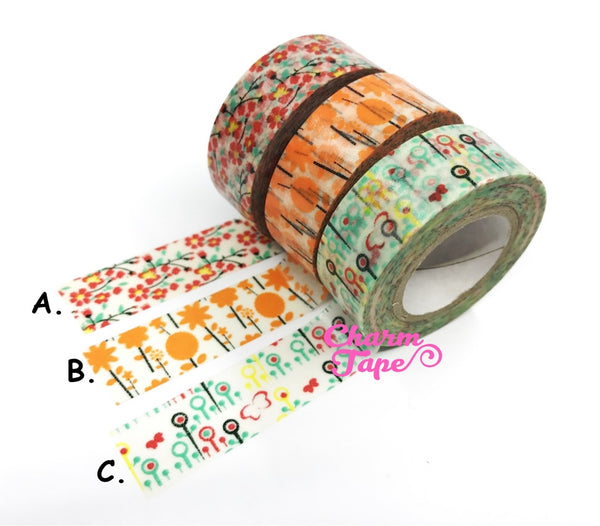 Flower Washi Tape 15mm x 10 meters WT1022 - CharmTape - 2