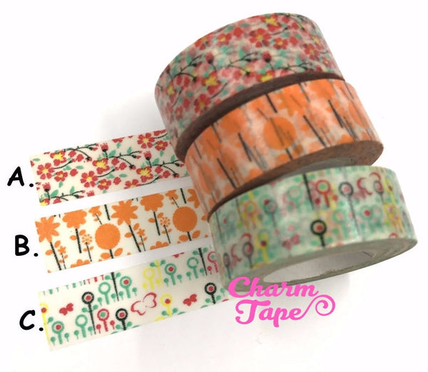 Flower Washi Tape 15mm x 10 meters WT1022 - CharmTape - 1