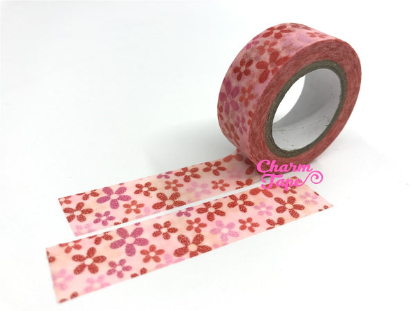Washi Tape Pink & Red floral WT555 - CharmTape - 3