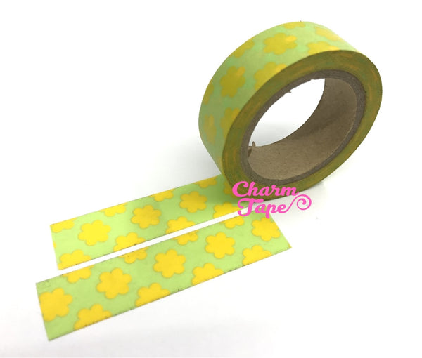 Pop Flower Print Washi tape 15mm x 10m WT521 - CharmTape - 2