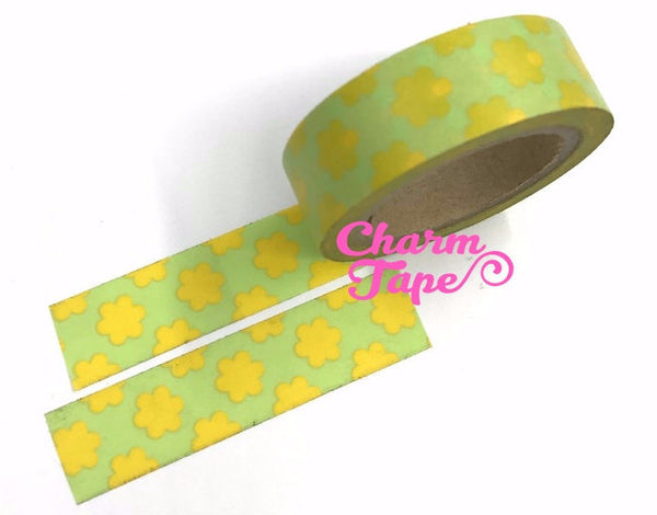 Pop Flower Print Washi tape 15mm x 10m WT521 - CharmTape - 1