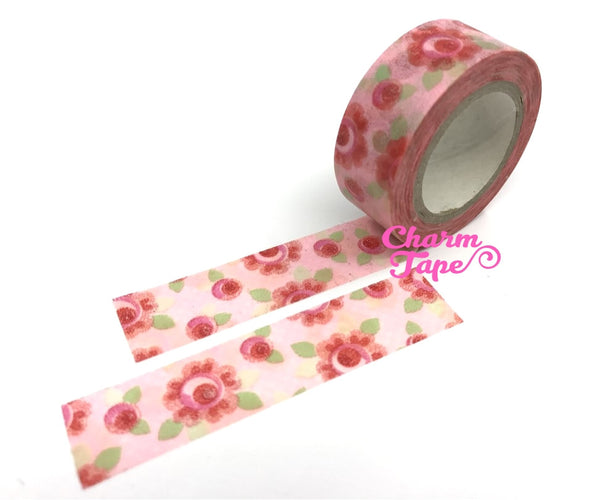 Washi Tape - Round Roses 8 meters WT561 - CharmTape - 2