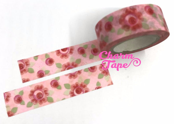 Washi Tape - Round Roses 8 meters WT561 - CharmTape - 1