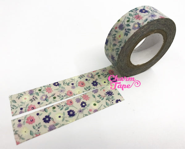 Shabby Chic florals Washi tape (15mm x 10m) WT480 - CharmTape - 2