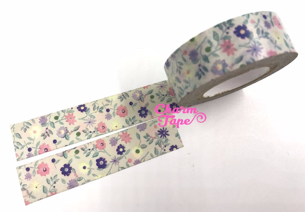 Shabby Chic florals Washi tape (15mm x 10m) WT480 - CharmTape - 1