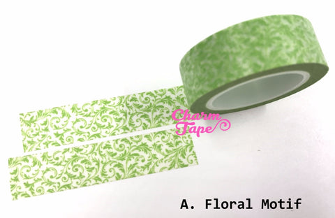 Flowers motif Washi Masking Tape 11 yards WT395 - CharmTape - 1