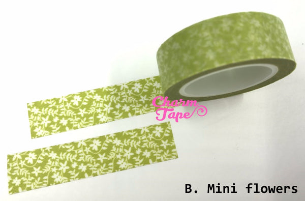 Translucent Flowers on vines Washi Masking Tape 11yards WT141 - CharmTape - 1