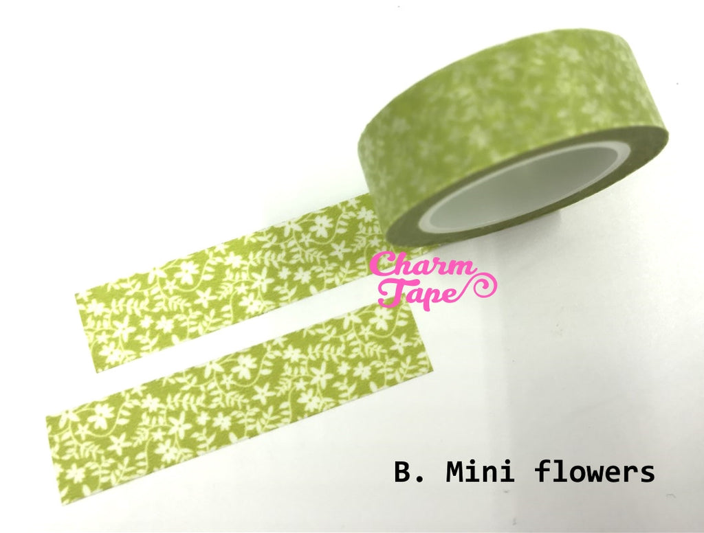 Translucent Flowers on vines Washi Masking Tape 11yards WT141 - CharmTape - 2