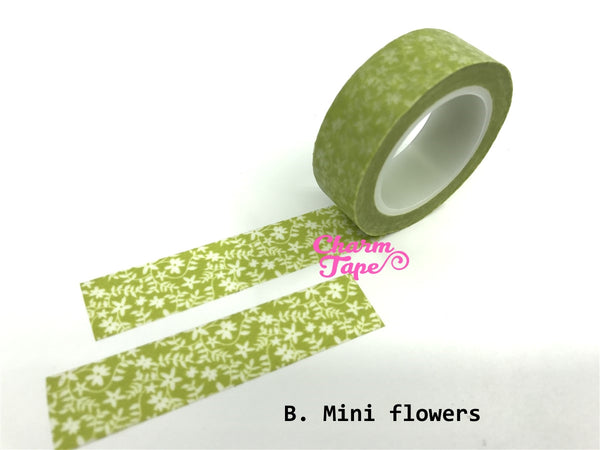 Translucent Flowers on vines Washi Masking Tape 11yards WT141 - CharmTape - 3