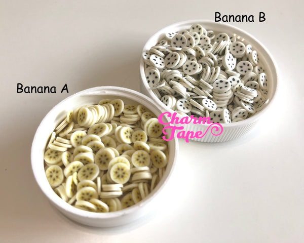 Banana Polymer Clay Fruit Slices, Nail Art Slices, Faux Fruit, Miniature Fruit 5mm 3g/15g/50g