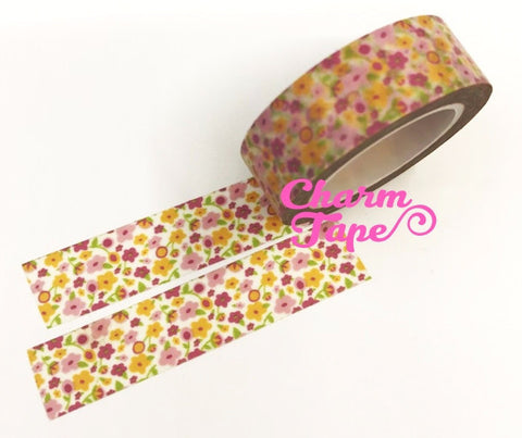 Mini flower Washi Tape 15mm x 10m WT331 - CharmTape - 1