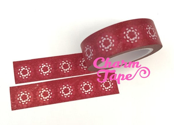 Red Chrysanthemum Washi Tape White flowers 15mm x 10m WT190