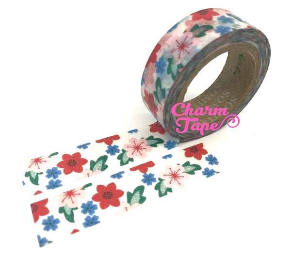 Pink orchid flowers Washi Tape 15mm 11yards WT275 - CharmTape - 4