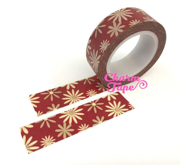 Daisy flower Washi Tape Full Roll 15mm x10 meters WT346 - CharmTape - 2