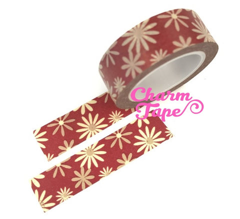 Daisy flower Washi Tape Full Roll 15mm x10 meters WT346 - CharmTape - 1