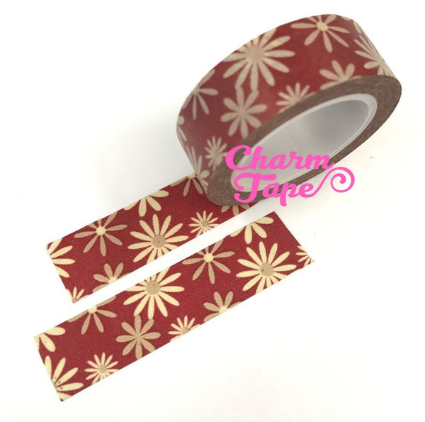 Daisy flower Washi Tape Full Roll 15mm x10 meters WT346 - CharmTape - 3
