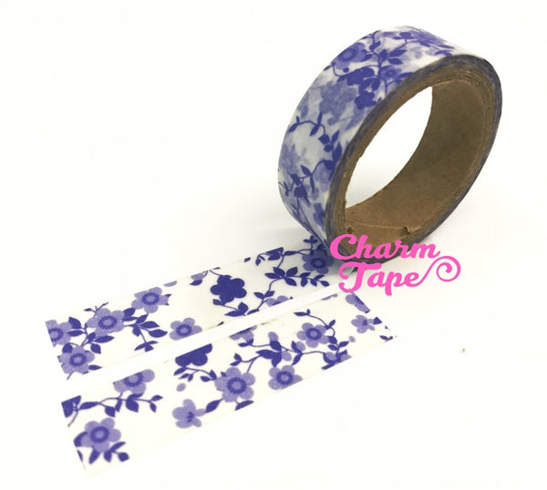 Blue Floral Washi Tape 15mm WT281 (2 Rolls) - CharmTape - 2