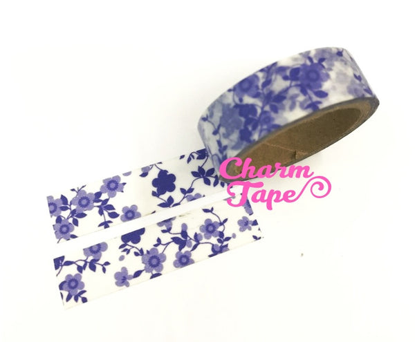Blue Floral Washi Tape 15mm WT281 (2 Rolls) - CharmTape - 4