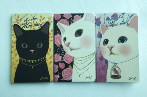 Mini Diary Choo Choo Cat Undated Journal Scheduler by Jetoy from Korea - CharmTape - 1