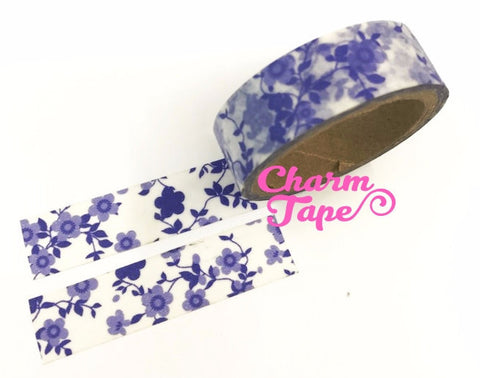 Blue Floral Washi Tape 15mm WT281 (2 Rolls) - CharmTape - 1