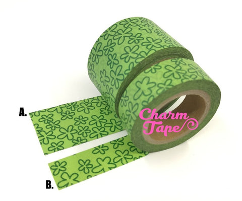 Green cartoon flower Washi Tape 10 meters WT1077