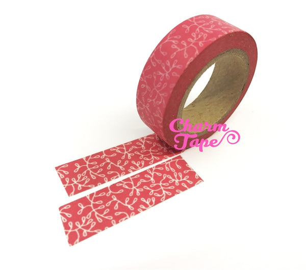 Vines on Pink Washi Paper Tape 15mm x 10m WT106 - CharmTape - 2