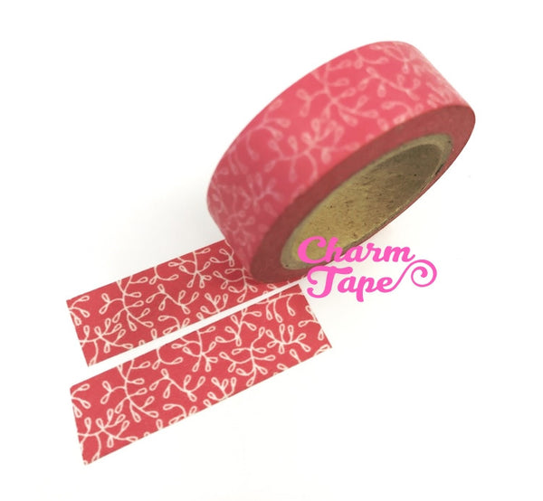 Vines on Pink Washi Paper Tape 15mm x 10m WT106 - CharmTape - 3