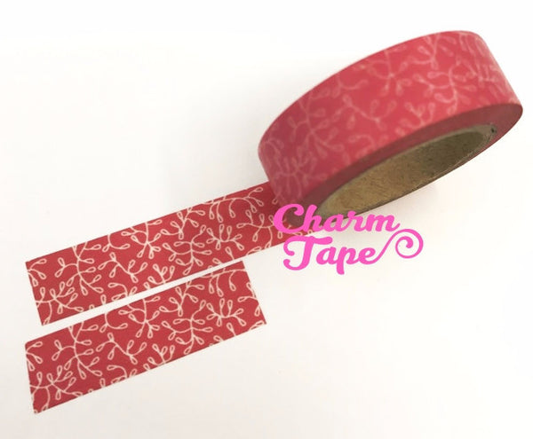 Vines on Pink Washi Paper Tape 15mm x 10m WT106 - CharmTape - 1