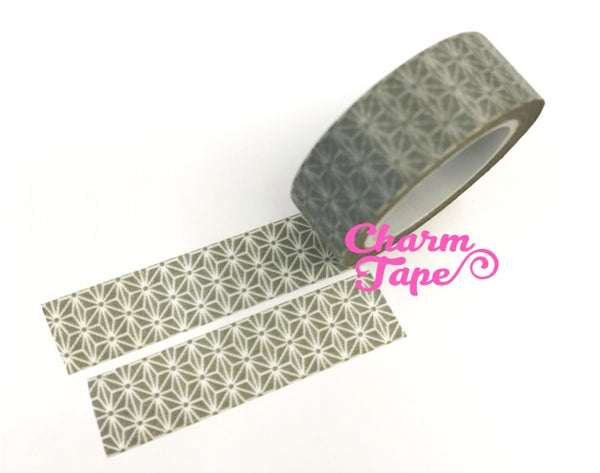 Japanese Washi Tape with white flower embellishment 15mm x 10m WT70