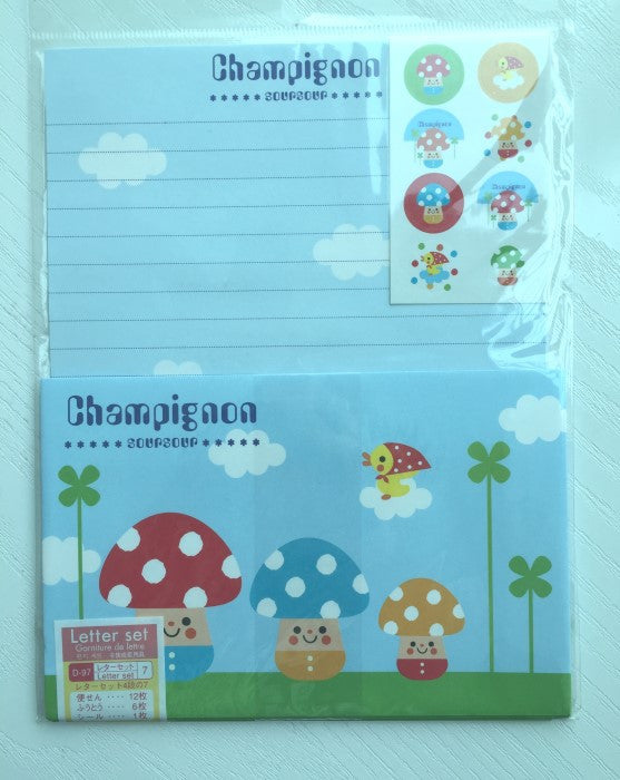 Writing paper and envelopes set - Super cute mushroom from Japan - CharmTape - 1