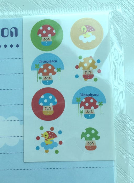 Writing paper and envelopes set - Super cute mushroom from Japan - CharmTape - 2
