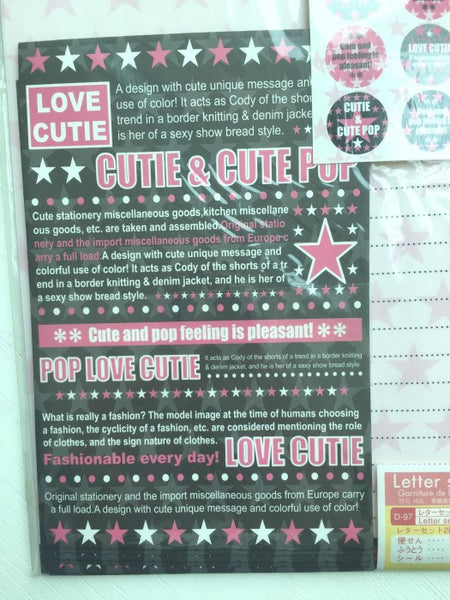Writing paper and envelopes set - Pop Love Cutie from Japan - CharmTape - 2
