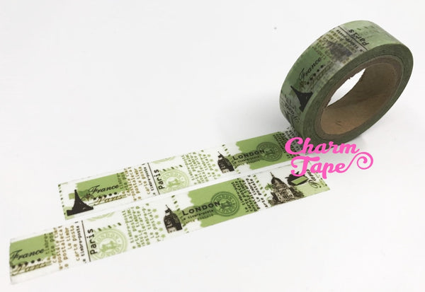 City monuments postal stamp Washi Tape Full Roll 15mm WT222