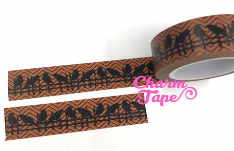 Black Birds Washi Tape Halloween 15mm x 10m WT686 - CharmTape - 1