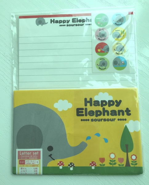 Writing paper and envelopes set - Happy Elephant from Japan - CharmTape - 1