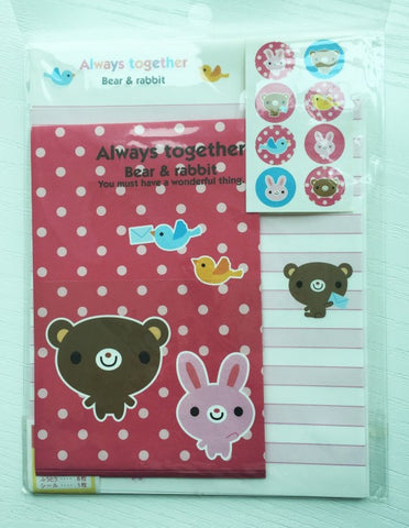 Writing paper and envelopes set - Bear & Rabbit from Japan - CharmTape - 1
