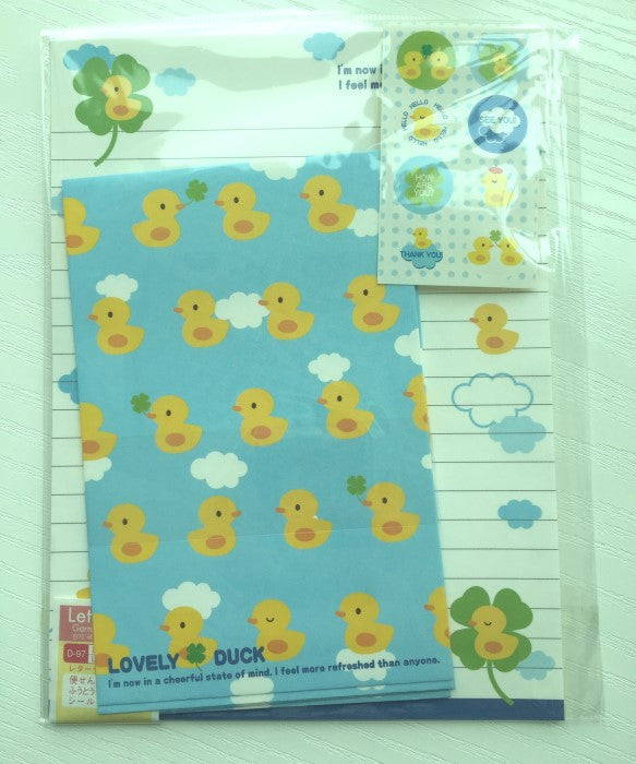 Writing paper and envelopes set - Lovely Duck from Japan - CharmTape - 1