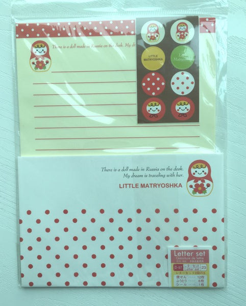 Writing paper and envelopes set - Little Matryoshka from Japan - CharmTape - 1