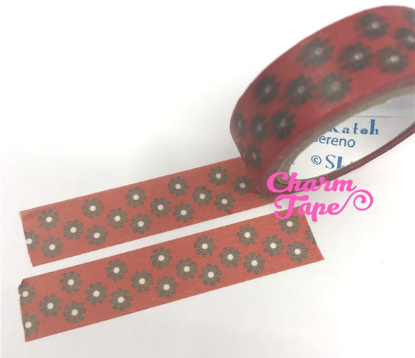 Daisy flower Washi tape 15mm x 10m WT340 by Shinzi Katoh - CharmTape - 1
