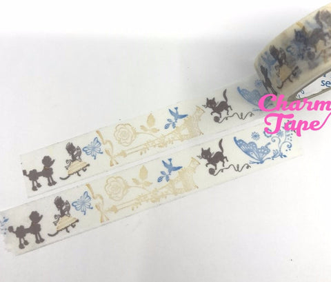 Poodle dog & Black cat Washi tape 15mm x 10 meters by Shinzi Katoh WT341 - CharmTape - 1