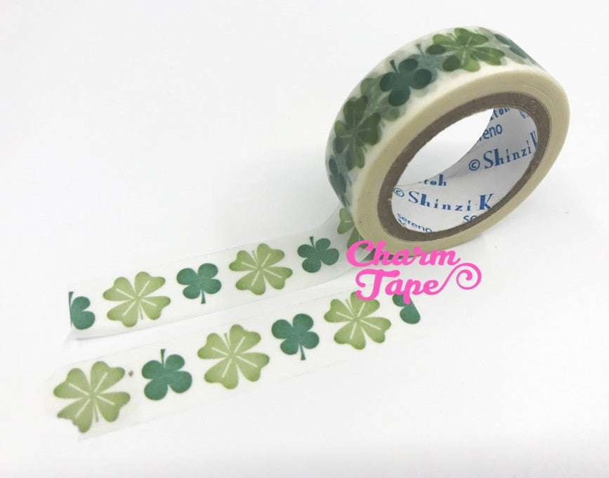Green clover leaf Washi tape 15mm x 10m WT756 by Shinzi Katoh - CharmTape - 1