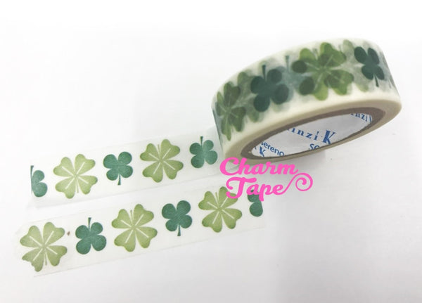 Green clover leaf Washi tape 15mm x 10m WT756 by Shinzi Katoh - CharmTape - 2