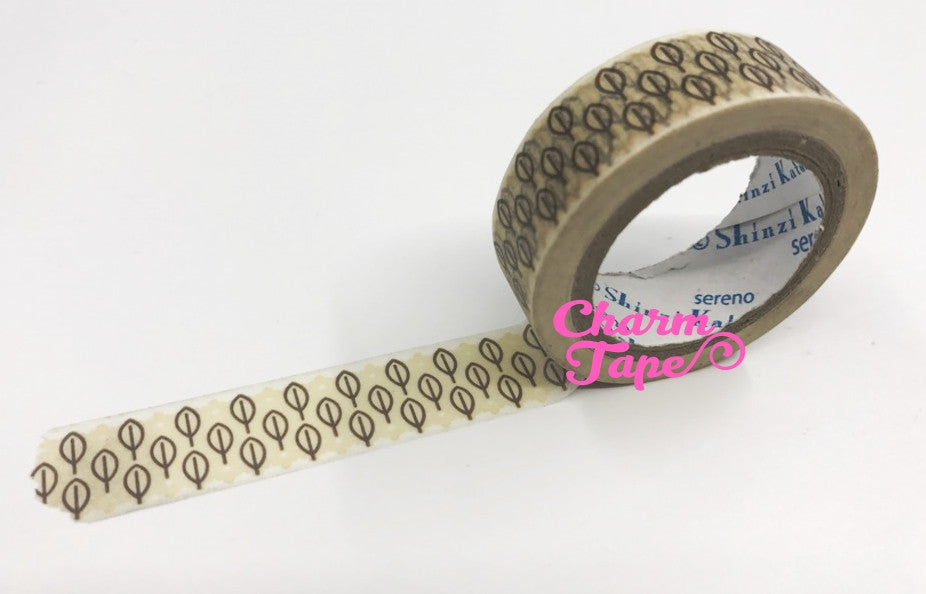 Brown leaf Washi tape 15mm x 10m WT755 by Shinzi Katoh - CharmTape