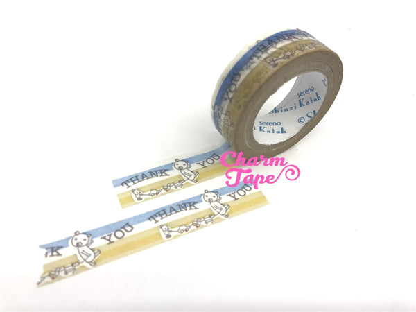 Thank you & Bear Washi Tape Full Roll 11yards by Shinzi Katoh WT339 - CharmTape - 3