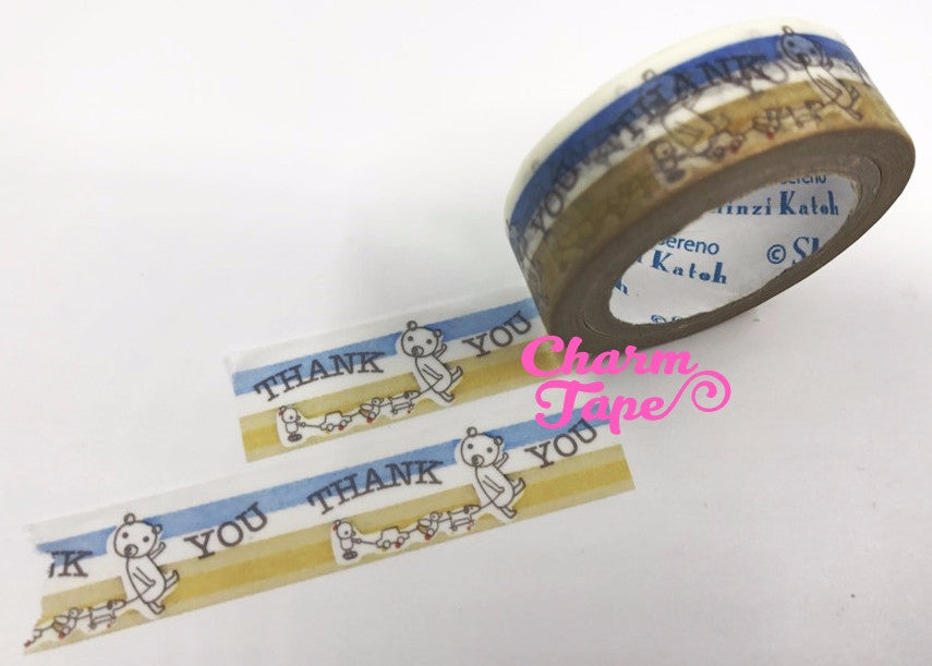 Thank you & Bear Washi Tape Full Roll 11yards by Shinzi Katoh WT339 - CharmTape - 4