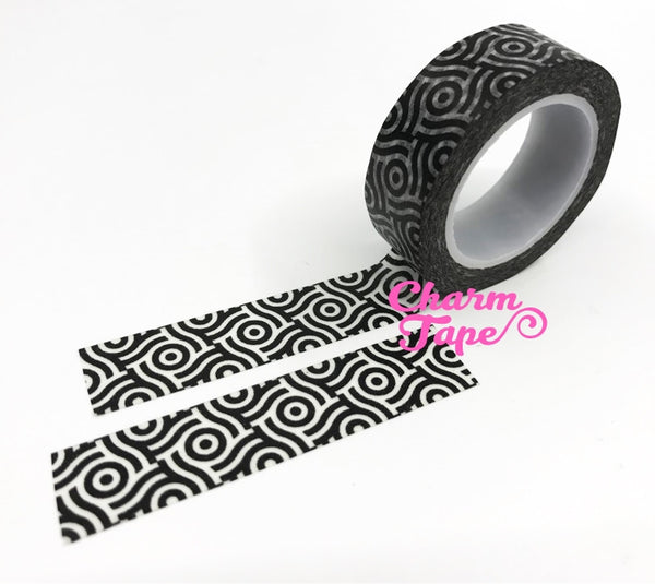 Black & White geometrical circle Washi tape 15mm x 10m WT473 - CharmTape - 2
