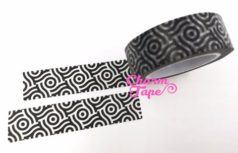 Black & White geometrical circle Washi tape 15mm x 10m WT473 - CharmTape - 1