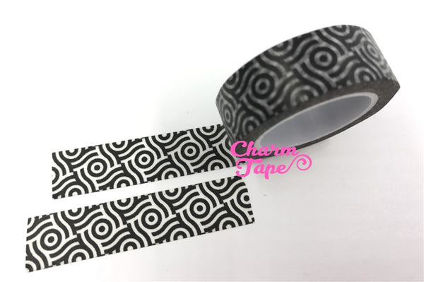Black & White geometrical circle Washi tape 15mm x 10m WT473 - CharmTape - 3
